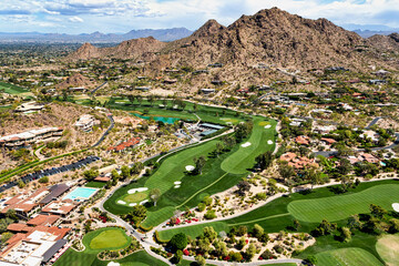 Picturesque Golf Course below Mummy Mountain