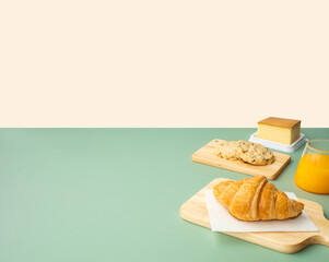 Set of breakfast food or bakery,cake on table pastel color background