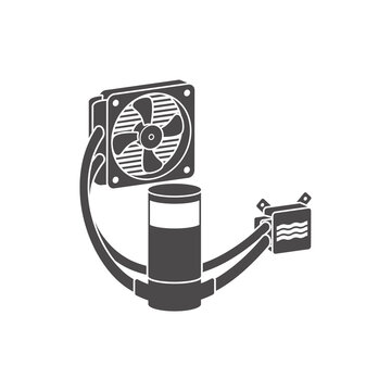 Liquid cooling system for PC icon in flat style.Vector illustration.