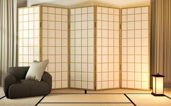 Japanese partition paper wooden design on living room tatami floor.3D rendering