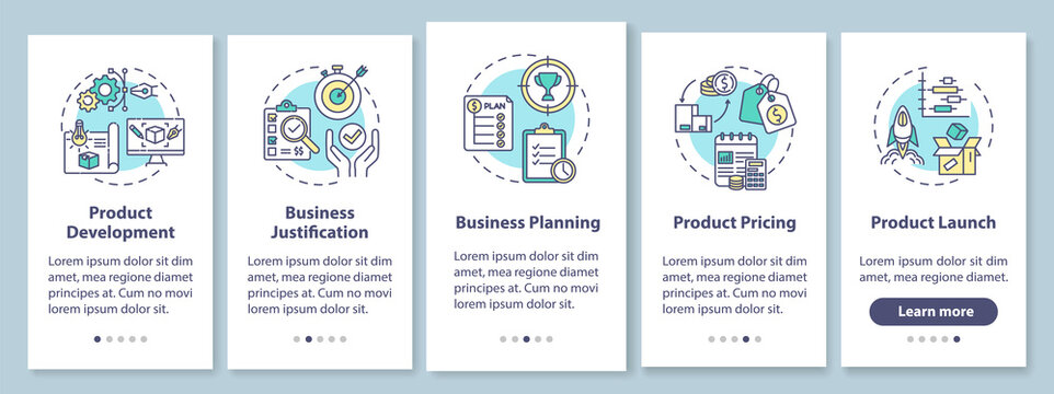 Product development onboarding mobile app page screen with concepts. Business case. Marketing strategy walkthrough 5 steps graphic instructions. UI vector template with RGB color illustrations