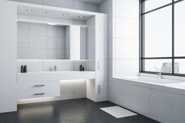 Modern bathroom with white bathtub