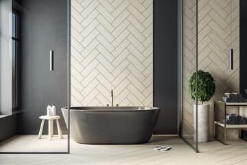 Modern bathroom interior with black bath