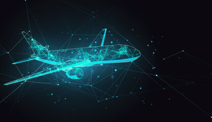 Abstract polygonal airplane on gray background.