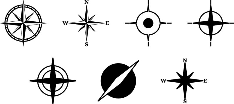 Compass Icons. Set of Compass Rose Vectors.