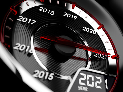 2021 year car speedometer. Countdown concept