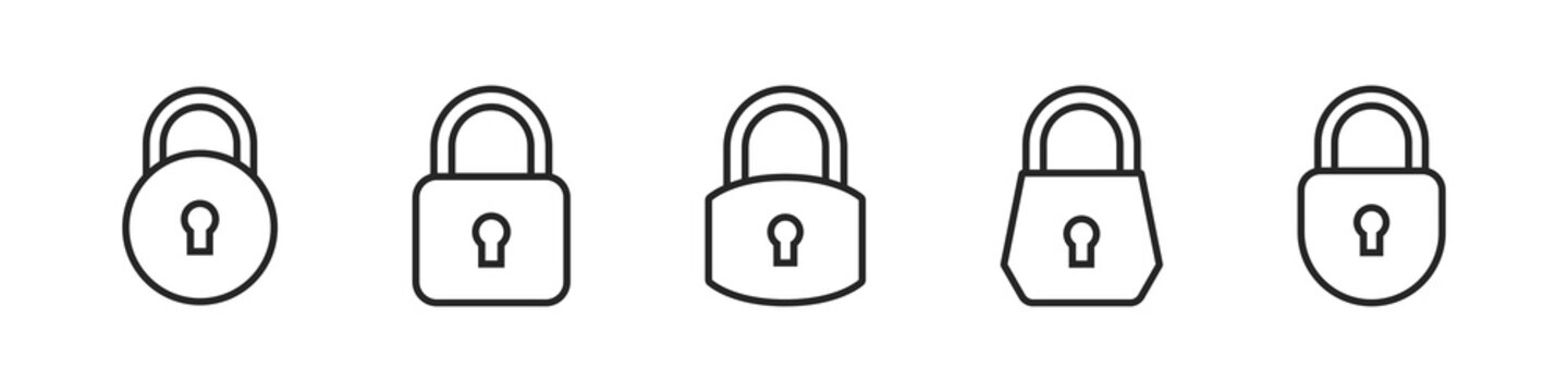 Lock line vector Icons. Padlock vector icons template. Vector illustration