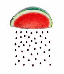 Wall Mural - Watermelon and seeds rain concept on a white bakcground