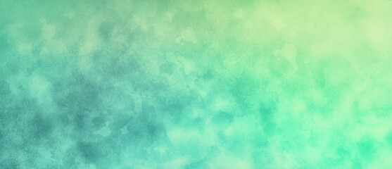 Blue green watercolor background painting with cloudy distressed texture and marbled grunge brush strokes or painted wash, soft yellow beige lighting and gradient blue green colors