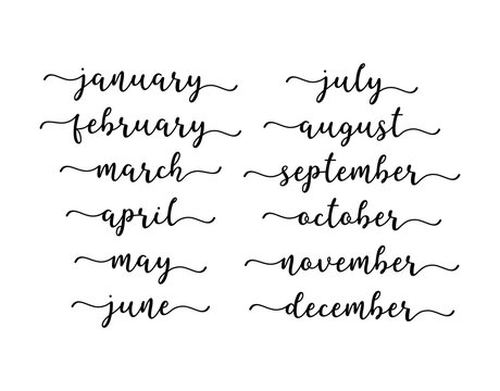 Hand Lettered Months of the Year Set. Calligraphy words January, February, March, April, May, June, July, August, September, October, November, December. Lettering for Calendar, Organizer, Planner
