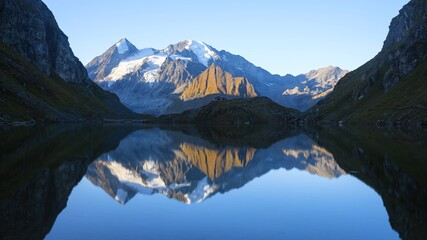Landscape in Alps Mountains, the magical Alps with its mountains, glaciers and lakes