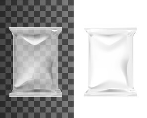 Pouch bag, sachet pack of white plastic foil, blank food product package, vector 3D mockup template. Realistic transparent pouch bag, sachet pack or doypack for snacks or dry food wrap package