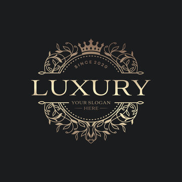 Floral Heraldic Luxury circle Logo template in vector for Restaurant, Royalty, Boutique, Cafe, Hotel, Jewelry, Fashion and other vector illustration