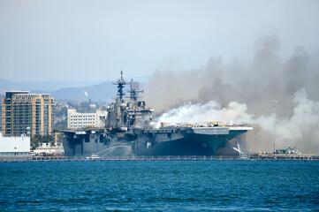 Fire aboard the U.S. Navy amphibious assault ship USS Bonhomme Richard in San Diego