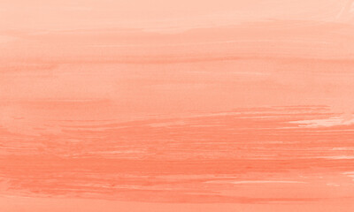 Abstract pastel orange or salmon colored watercolor background with horizontal paintbrush stroke effect. Illustration is blank with copy space for text and images. Great for backdrops and banners.