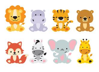 Fototapeta premium Zestaw uroczych dzikich zwierząt, w tym lew, tygrys, hipopotam, niedźwiedź, lis, zebra, żyrafa i słoń. Wektor zwierzęta dżungli safari. Ilustracja zwierząt leśnych.