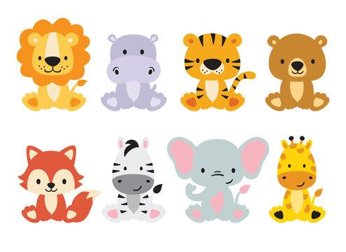 Cute wild animals set including lion, tiger, hippo, bear, fox, zebra, giraffe, and elephant. Safari jungle animals vector. Woodland animal illustration.