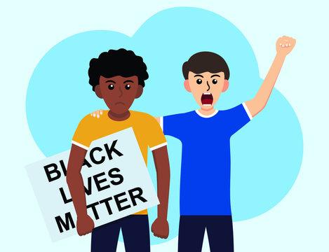 Black Lives Matter We Stand Together Against Racism flat design