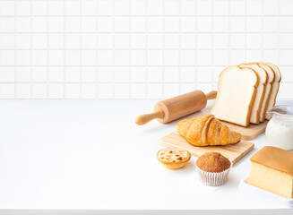 Set of breakfast food or bakery,cake on white table kitchen background
