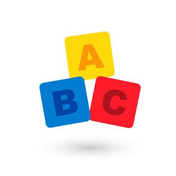 ABC blocks flat icon.