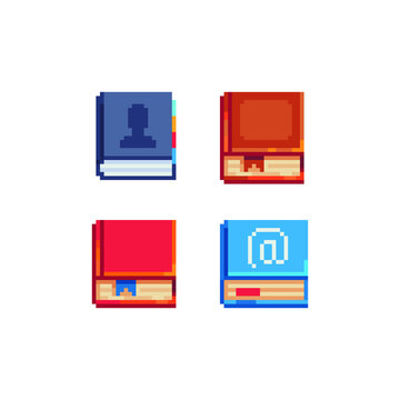Red books pixel art icons set. Element design for mobile app, web, sticker, logo. Game assets 8-bit sprite. Isolated vector illustration. School stationery and training.