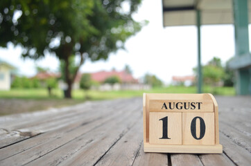 August 10, Number cube with a natural background.