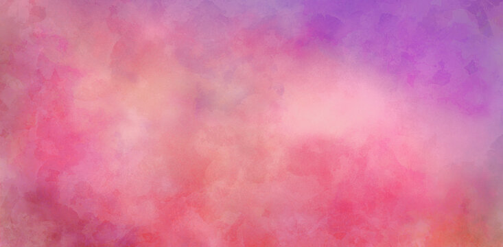Pink and purple watercolor background with abstract painted texture design, soft sunset illustration with yellow orange colors