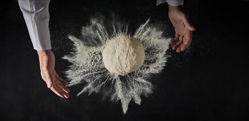 Mound of freshly made dough with flour burst