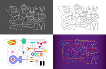 4 options of Music Instrument Line Art Silhouettes vector illustration. Outline images of guitar, saxophone, piano keyboard, trumpet, trombone, microphone and gramophone.