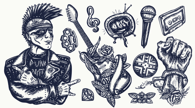 Punk music set. Tattoo vector collection. Punker with mohawk hairstyle, hard rock man. Hooligans lifestyle. Electric guitar. Anarchy art. Traditional tattooing elements