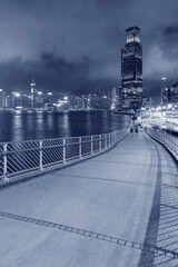 Fototapete - Skyline of downtown of Hong Kong city at night
