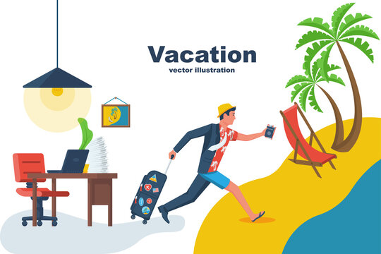 Go on vacation. The manager runs from the office to the beach to relax. Dressing up on the run. Going on vacation. Vector flat design. Isolated on white background. Young man hurry on vacation.