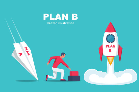 Launch of plan B. Business metaphor. Plan A and plan B. Vector illustration flat design. Success solution and failure. A paper plane crashes, a rocket takes off.