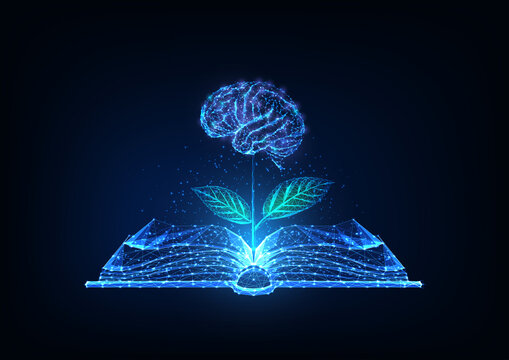 Futuristic knowledge, education, creativity concept with glowing low polygonal open book and plat with brain as a flower