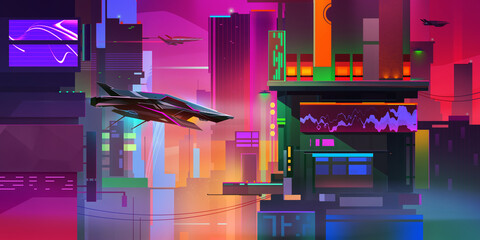 painted bright cityscape of the future in cyberpunk style