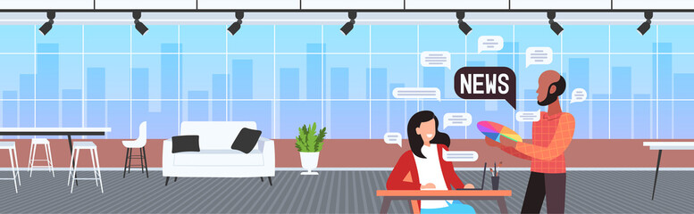 designers couple chatting during meeting discussing daily news chat bubble communication concept art studio interior horizontal portrait vector illustration