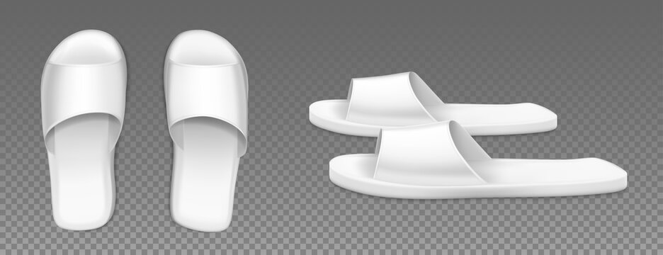 White slippers top and side view. Flip flops for home, spa salon or hotel isolated on transparent background. Bathroom or beach rubber shoes mockup, blank footwear, Realistic 3d vector illustration