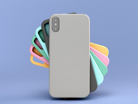 multicolored phone cases presentation for showcase 3d render on blue background