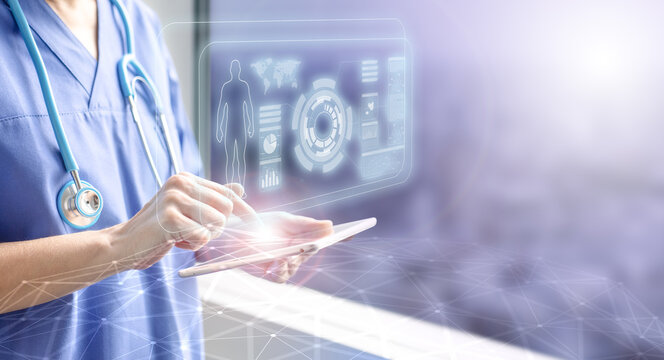 female doctor touching a tablet displaying the patient's data hologram, concept of electronic medical information and futuristic technology in health care