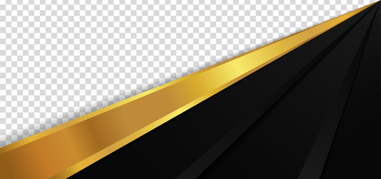 Abstract luxury gold metallic and black overlap layer design with space for image