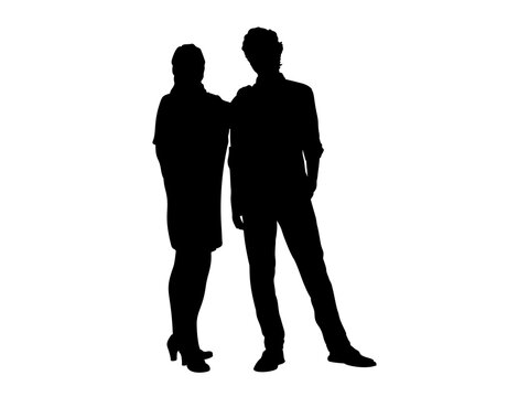 Silhouettes of mom and adult son