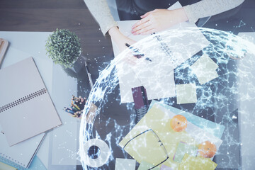 Printed roller blinds Graphic Prints Social network theme hologram over hands taking notes background. Concept of global international people connect. Double exposure