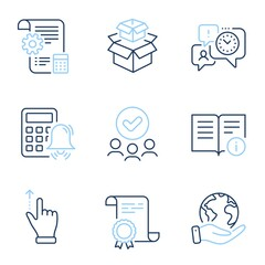 Time management, Touchscreen gesture and Technical info line icons set. Diploma certificate, save planet, group of people. Calculator alarm, Packing boxes and Settings blueprint signs. Vector