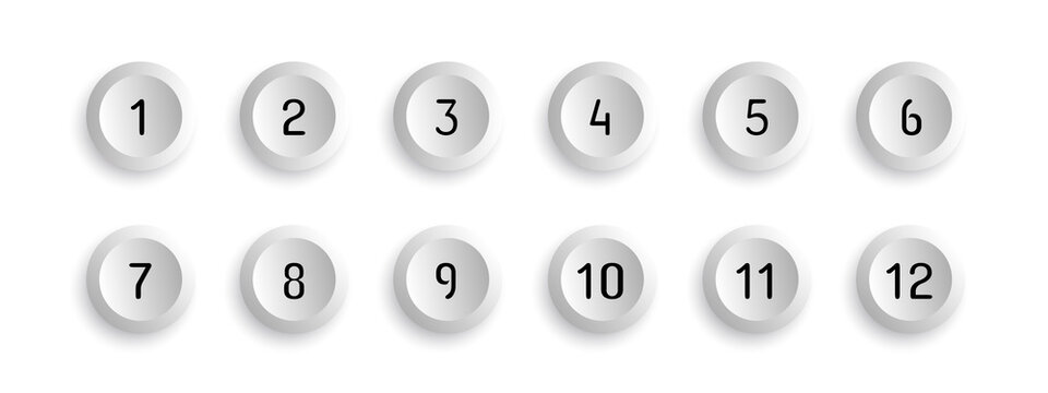 Button Set With Number Bullet Point From 1 To 12 - Vector Illustration - Isolated On White Background