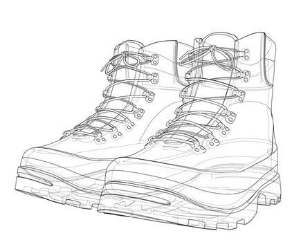 Mens boot concept. 3D illustration