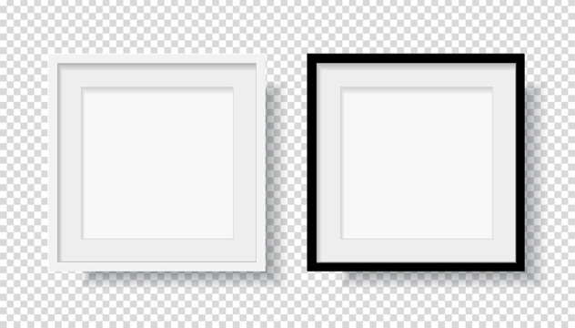 Photo Realistic Black Blank and White Picture Frame, hanging on a Wall from the Front. mockup isolated on transparent background. Graphic style template. Vector illustration