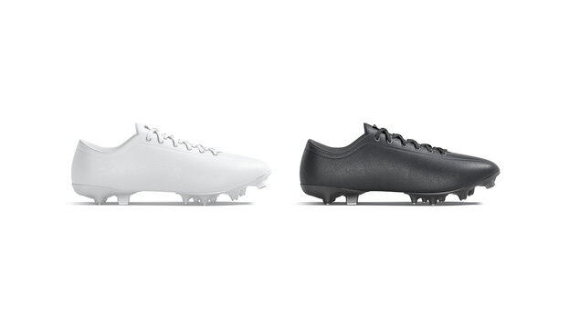 Blank black and white soccer boot with rubber cleats mockup,