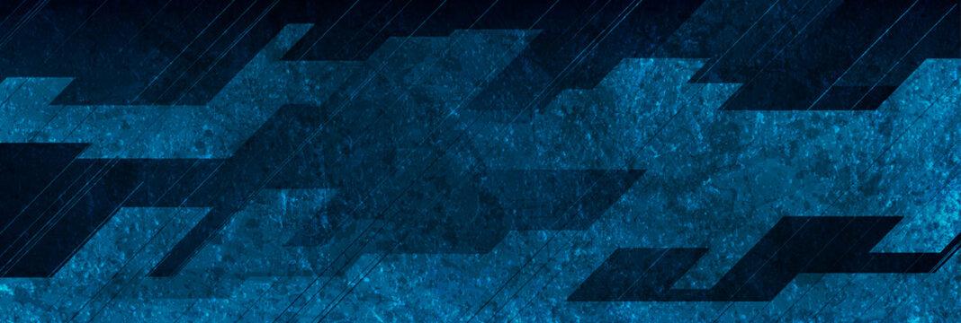 Dark blue grunge stripes abstract banner design. Geometric tech vector background