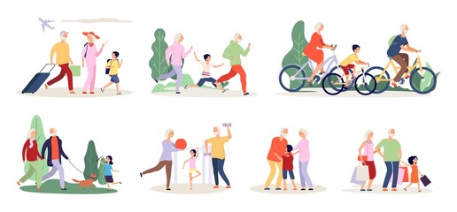 Grandparents and grandchildren. Old people activity with boy girl. Travel ride bicycle doing sport exercices vector illustration. Grandchildren and grandparent together, cartoon active time