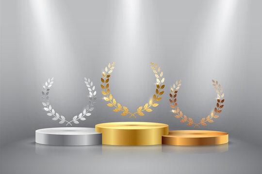 Winner background with golden, silver and bronze laurel wreaths with ribbons on round pedestal isolated on gray background. Vector winner podium sports symbols.